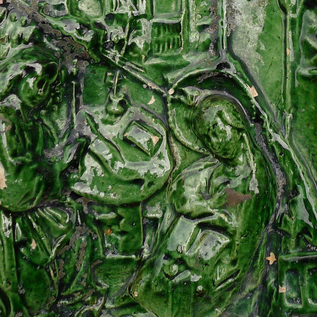 Maria, St. Georg und Friedrich III. (Prunkkachelofen) Detail mit Maria und Engel
