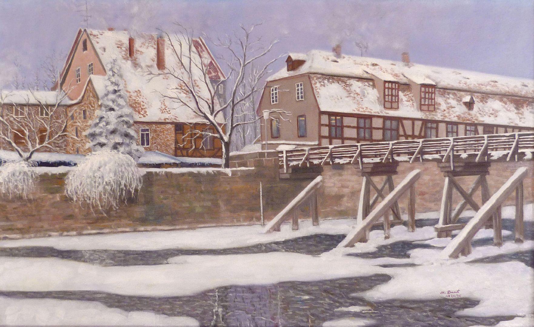 Der Nürnberger Kleinweidenmühlsteg im Winter