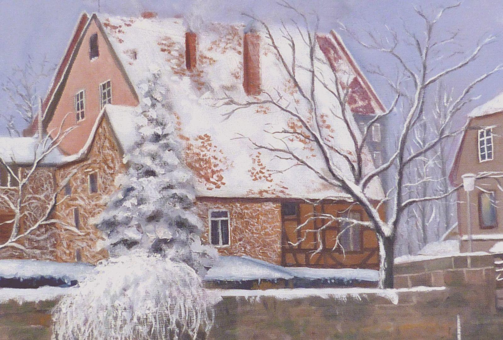 Der Nürnberger Kleinweidenmühlsteg im Winter linke Bildhälfte, Detail