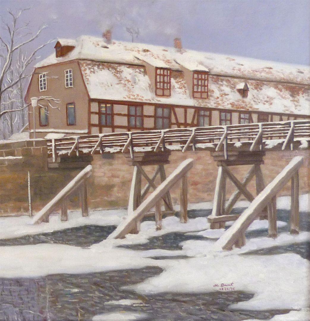 Der Nürnberger Kleinweidenmühlsteg im Winter rechte Bildhälfte, Detail