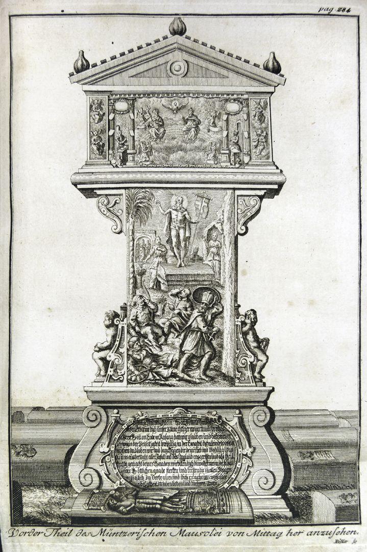"""""""Vorder Theil des Müntzerischen Mausolei von Mittag her anzusehen"""" Gesamtansicht"""