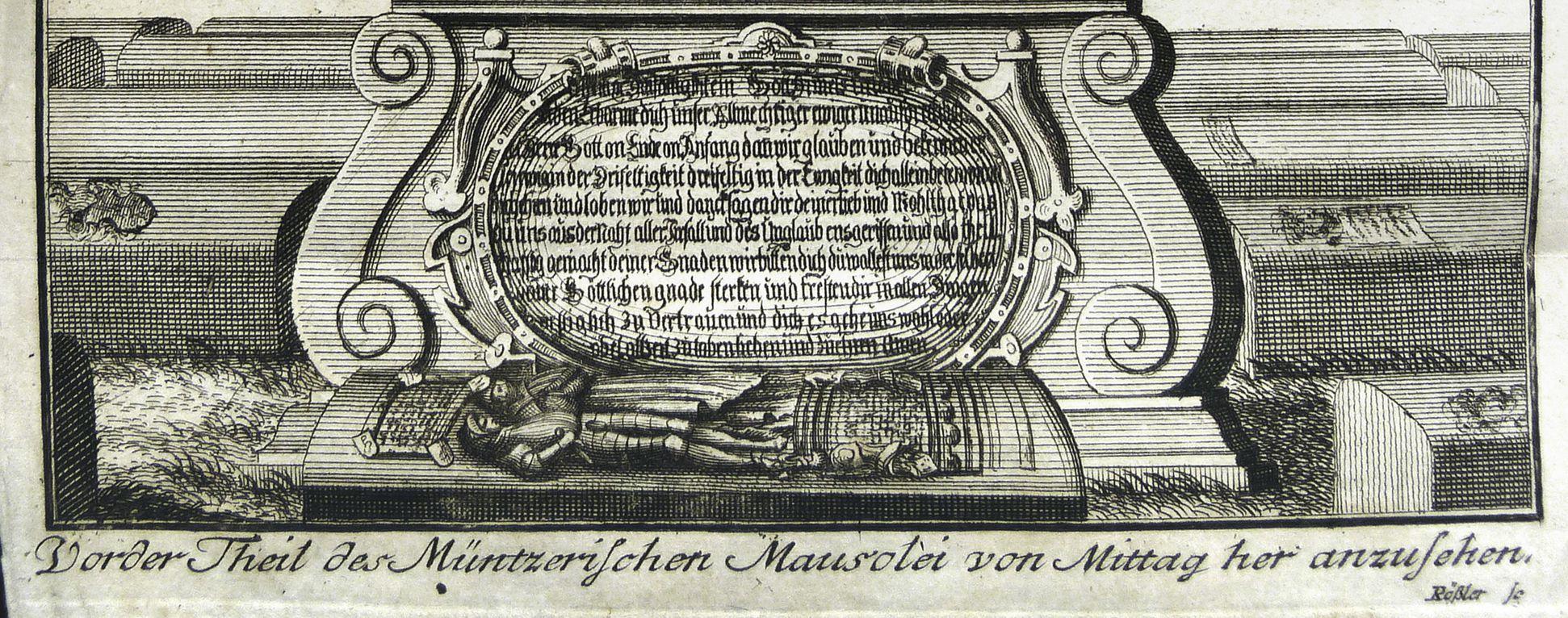 """""""Vorder Theil des Müntzerischen Mausolei von Mittag her anzusehen"""" Basis"""