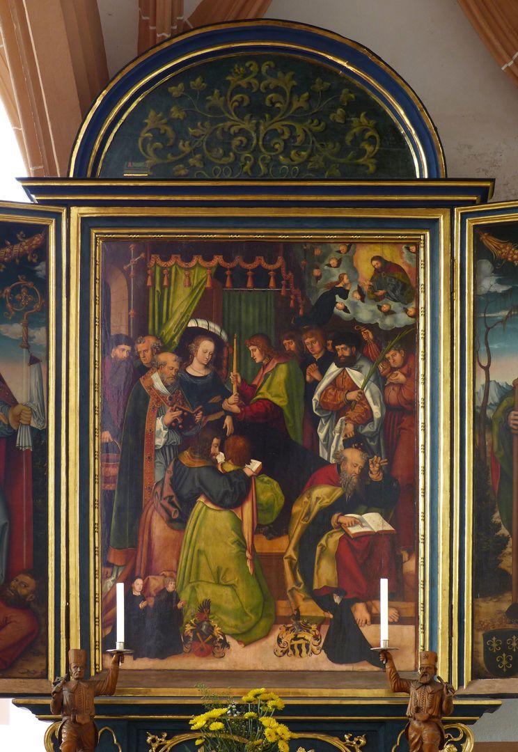Pflockscher Altar Mitteltafel mit der Dormitio Mariae. Unten die Stifterfiguren samt Wappen.