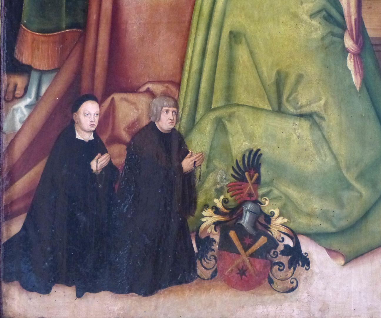 Pflockscher Altar Mitteltafel mit der Dormitio Mariae. Lorenz Pflock und Sohn Wolff mit Pflockschem Wappen.