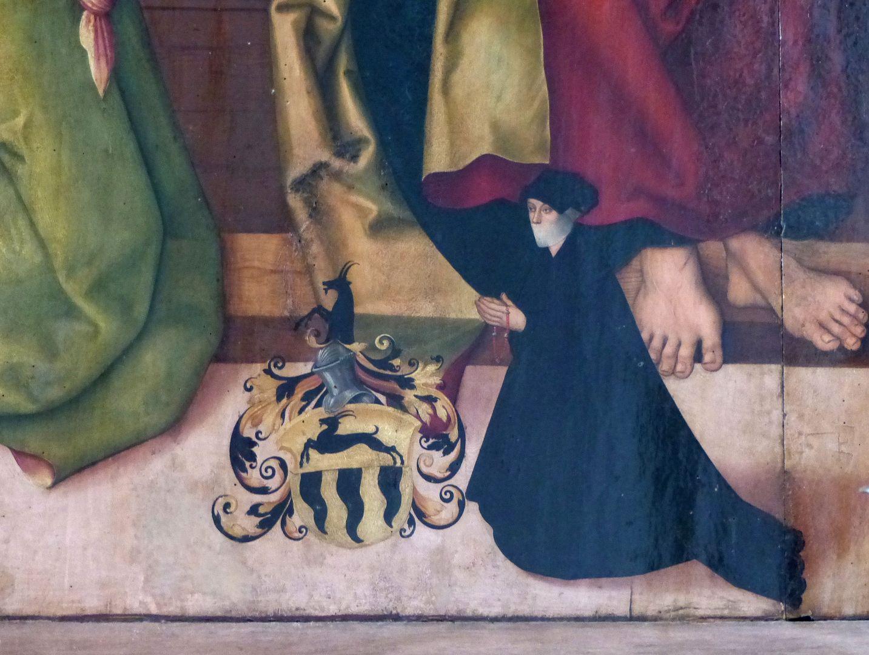 Pflockscher Altar Mitteltafel mit der Dormitio Mariae. Magdalena Pflock mit ihrem Wappen.