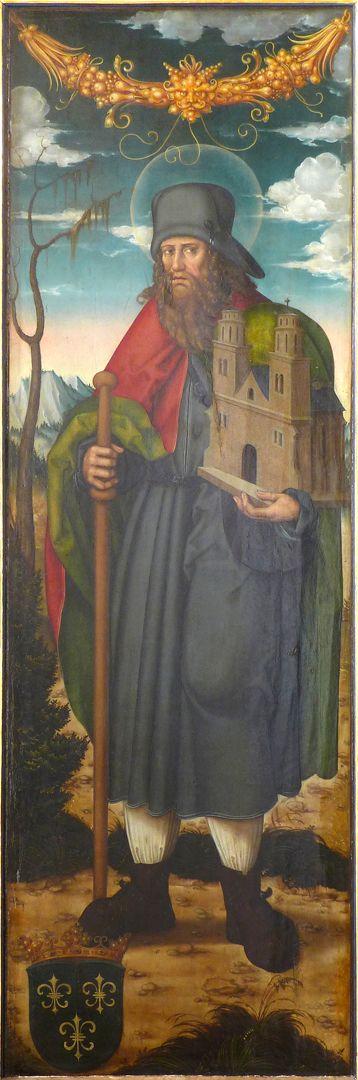 Pflockscher Altar Rechter Flügel. Sankt Sebald mit Pilgerstab und Kirchenmodell.