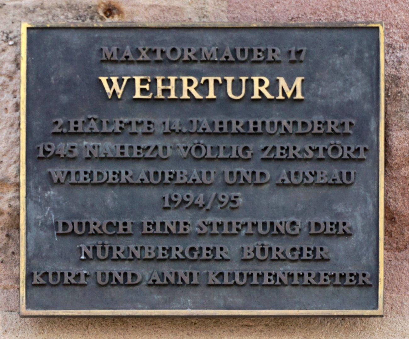 Wehrturm (Schwarz I) Stiftertafel