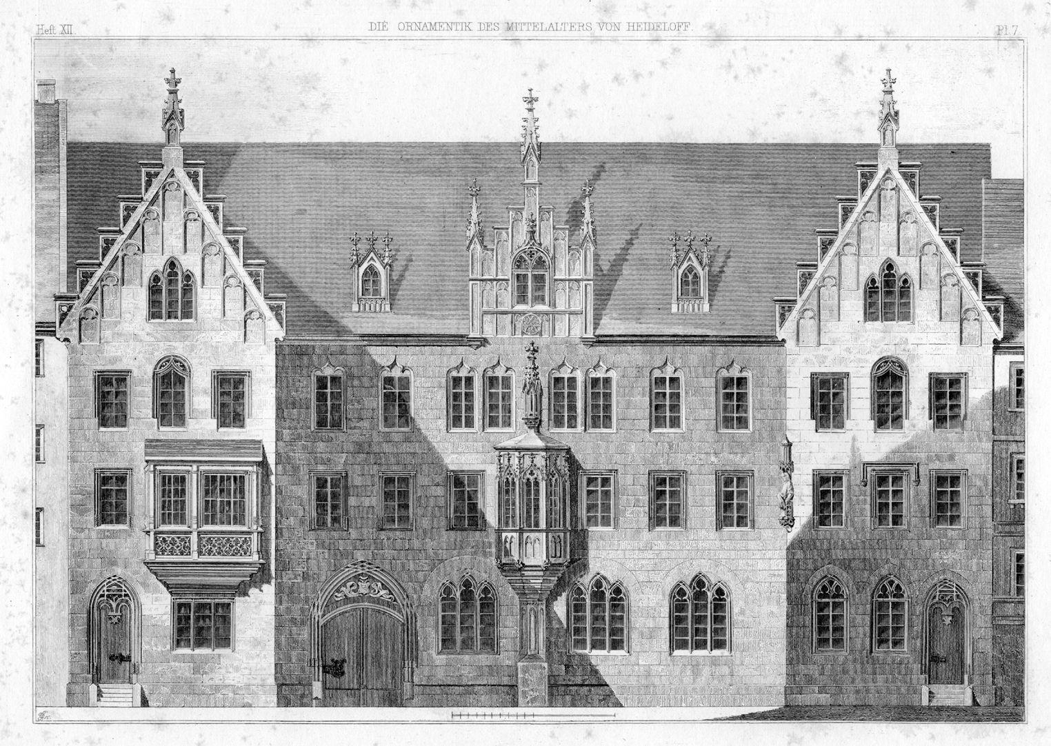 Lorenzer Pfarrhof Lorenzer Pfarrhof, Stich aus seinem Buch der Ornamentik des Mittelalters (Neuausgabe). In der starren Symmetrie ein vollkommen klassisches Gebäude mit Einverleibung eines älteren Chörleins.
