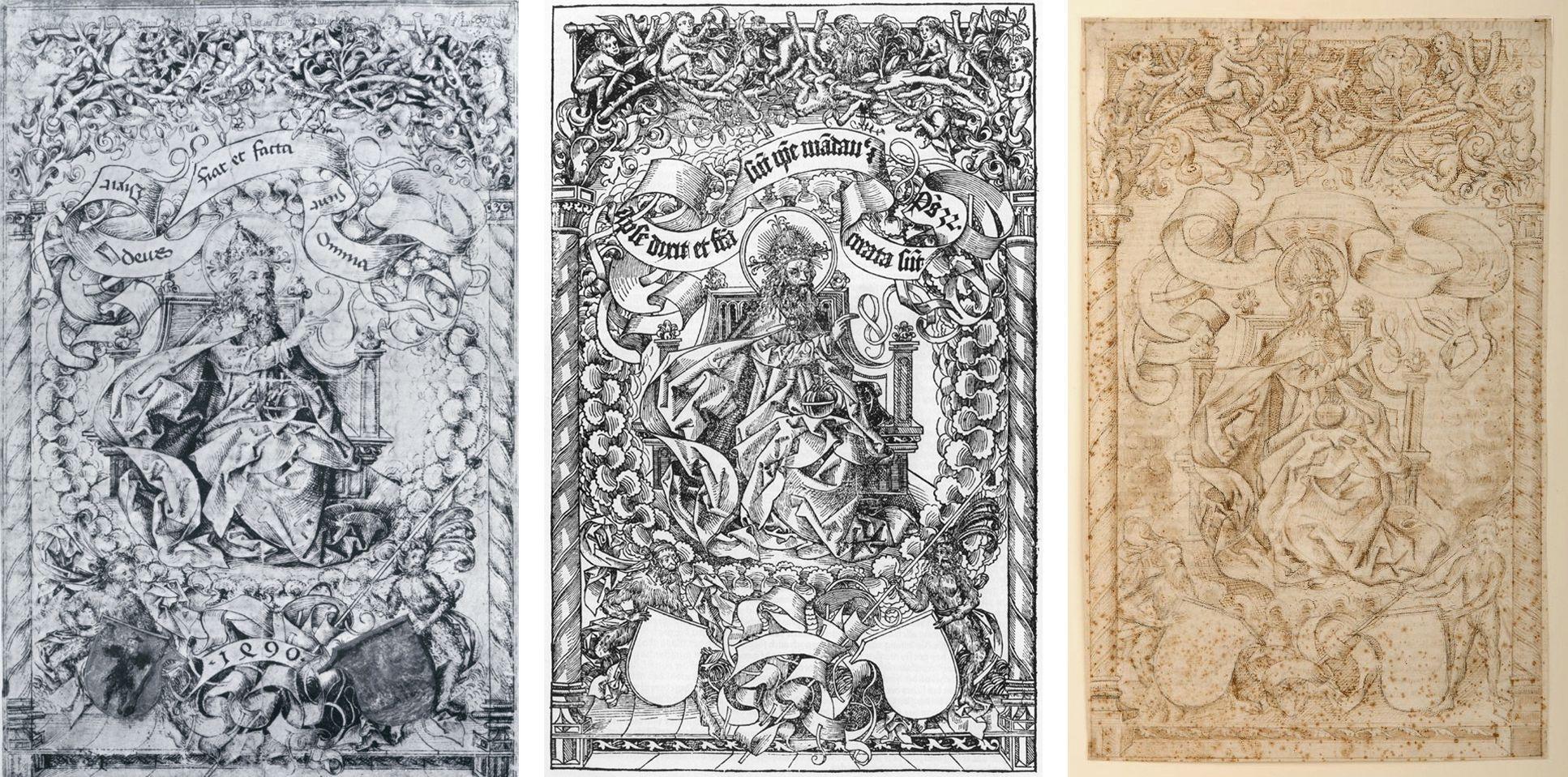 Titelbild der Schedelschen Weltchronik a: Originalzeichnung aus der Werkstatt von Michael Wolgemut, 1490. b: Titelbild der Schedelschen Weltchronik, 1493.  c:  Kopie der Urzeichnung in London, 1490er Jahre ?