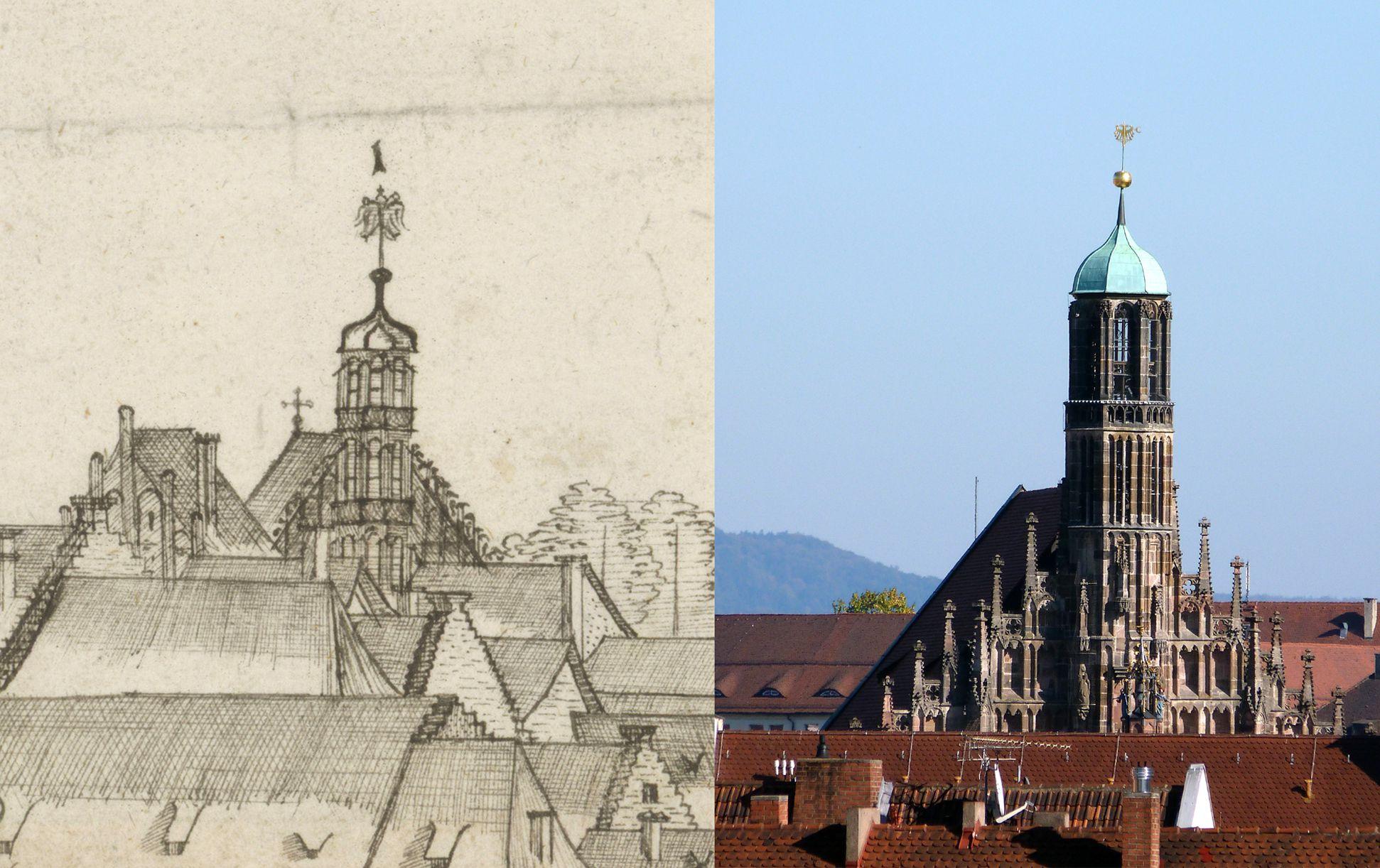 Panoramadarstellung der Stadt Nürnberg von Westen Gegenüberstellung Detail Frauenkirche und heutiger Zustand