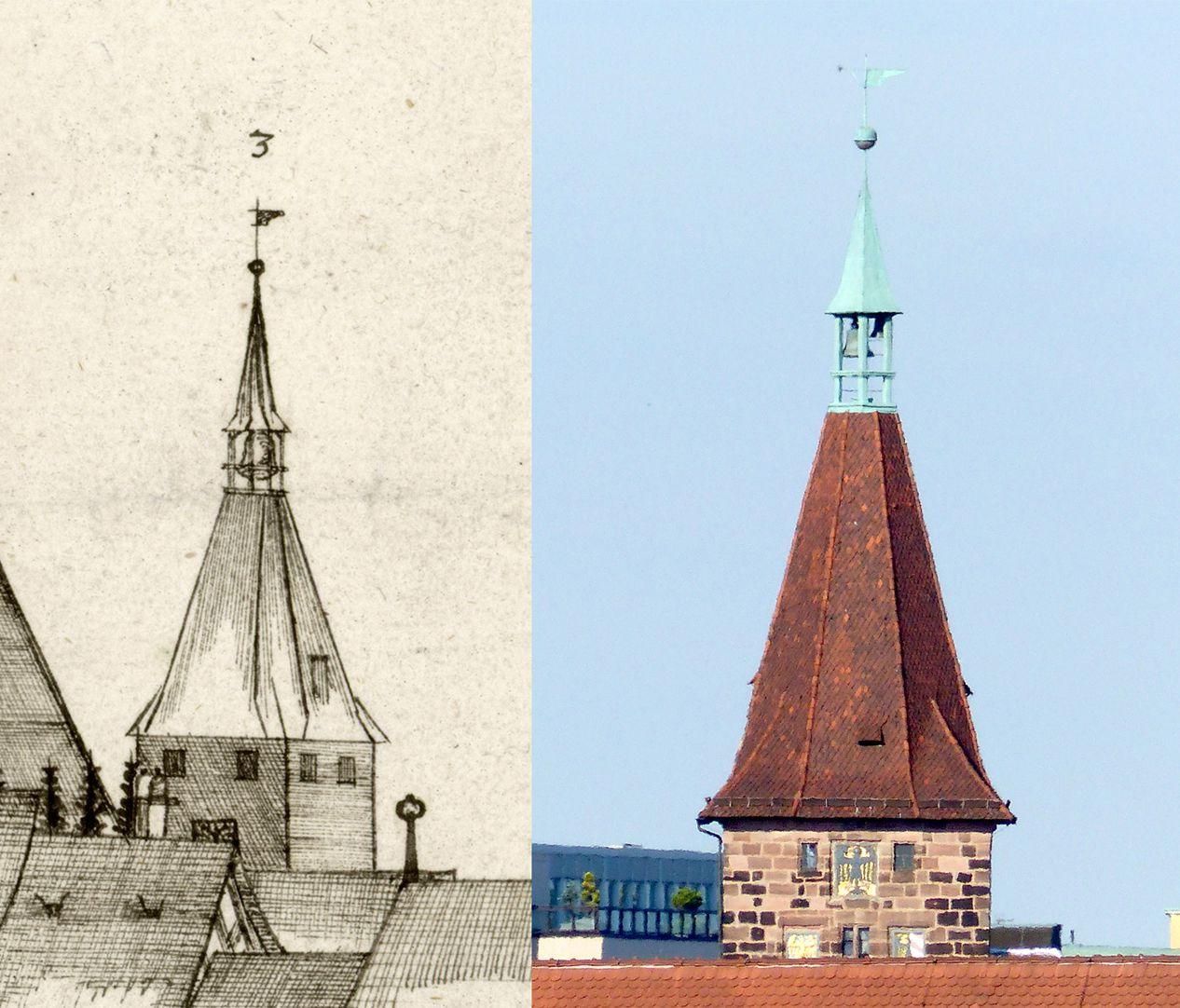 Panoramadarstellung der Stadt Nürnberg von Westen Gegenüberstellung Detail Laufer Schlagturm und heutiger Zustand