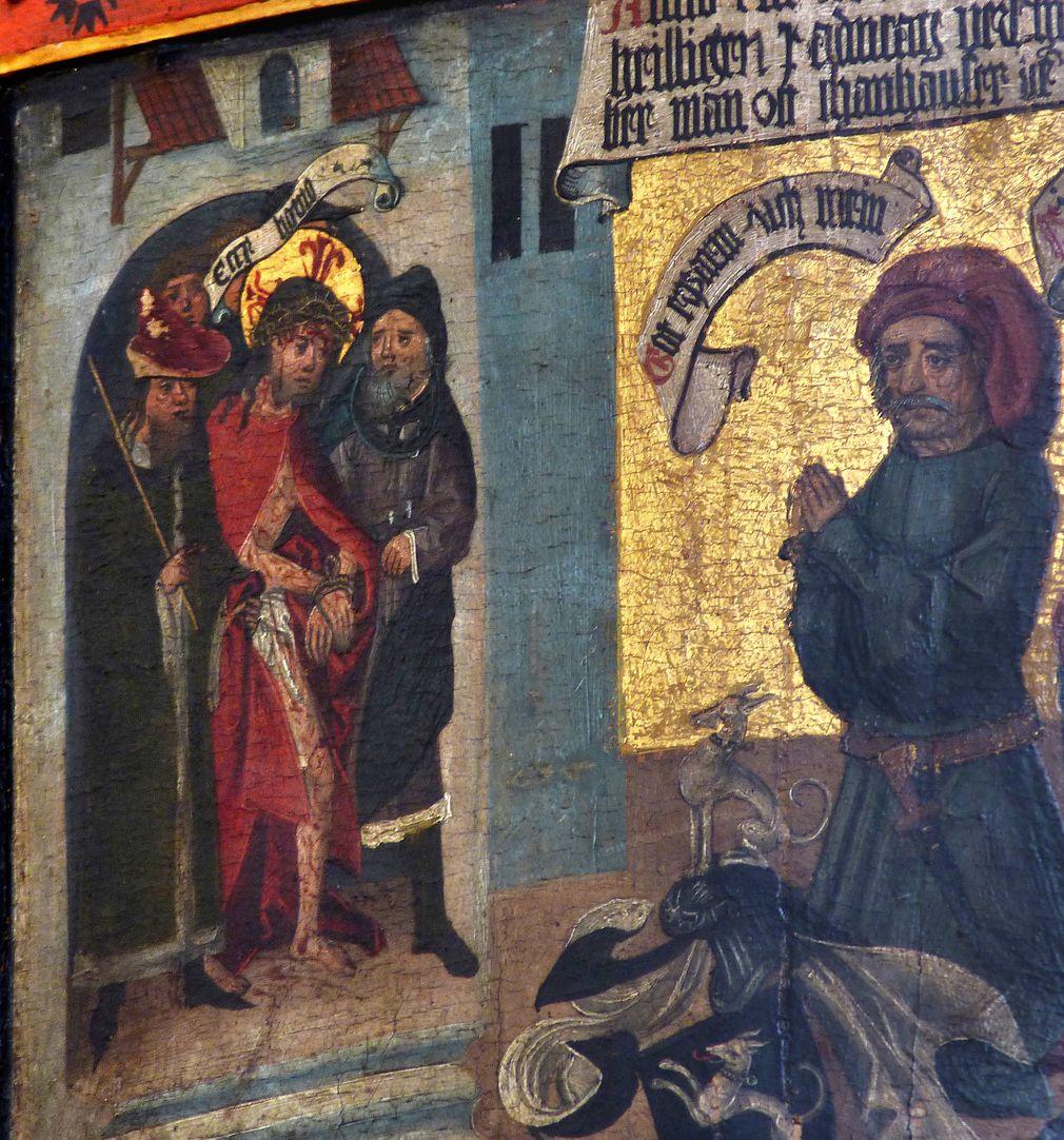 Thanhauser Epitaph Stifter betet vor dem gefolterten Jesu. In einem Spruchband das gesprochene Wort: Ecce homo
