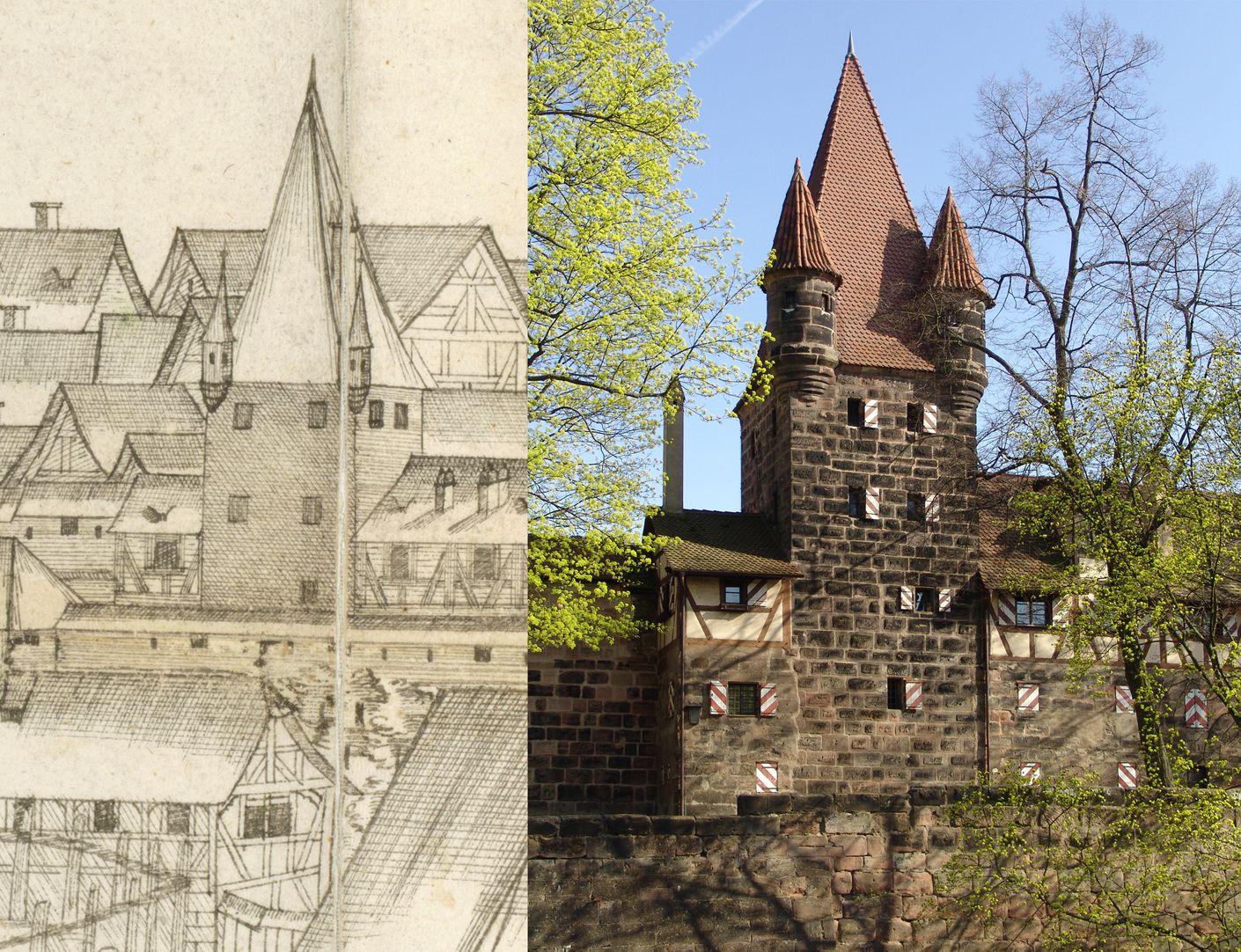 Panoramadarstellung der Stadt Nürnberg von Westen Gegenüberstellung Detail Turm Rotes Z und heutiger Zustand (links und rechts des Turms Prisaun und Irrenhaus)