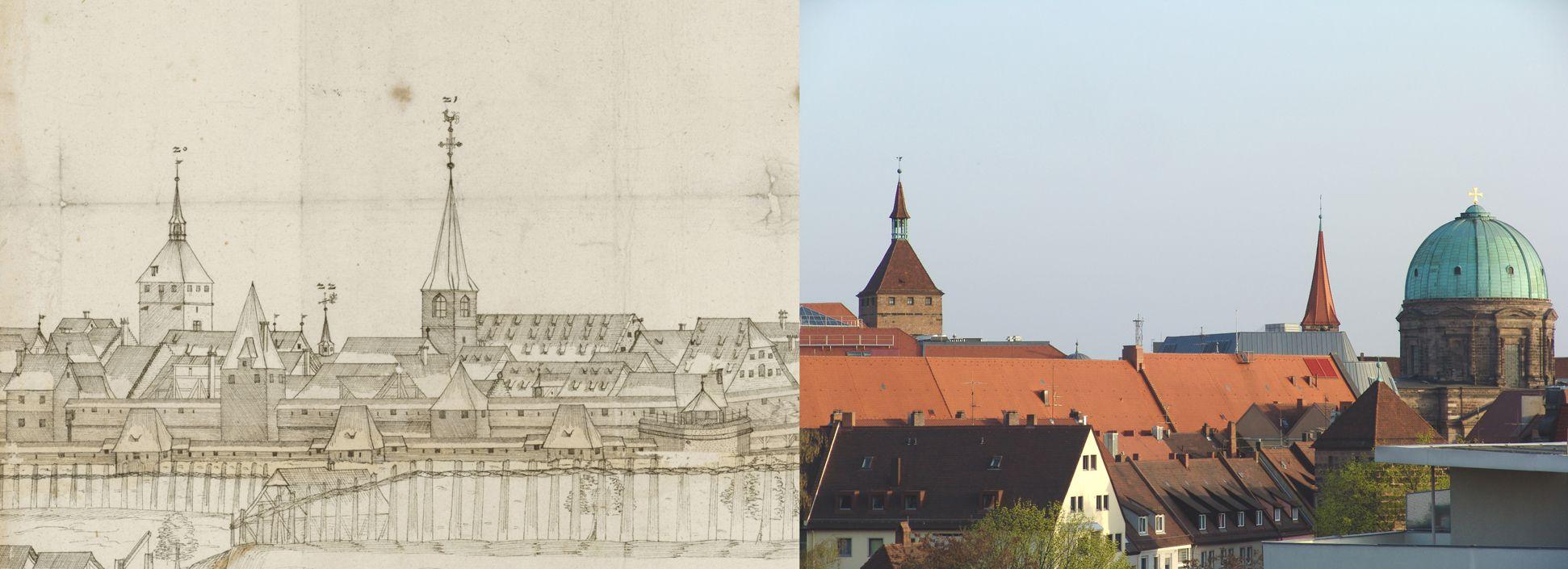 Panoramadarstellung der Stadt Nürnberg von Westen Gegenüberstellung Detail rechtes Zeichnungsdrittel, Weißer Turm und Sankt Jakob (anstelle der kleinen alten Elisabethkapelle die frühklassizistische Elisabethkirche)