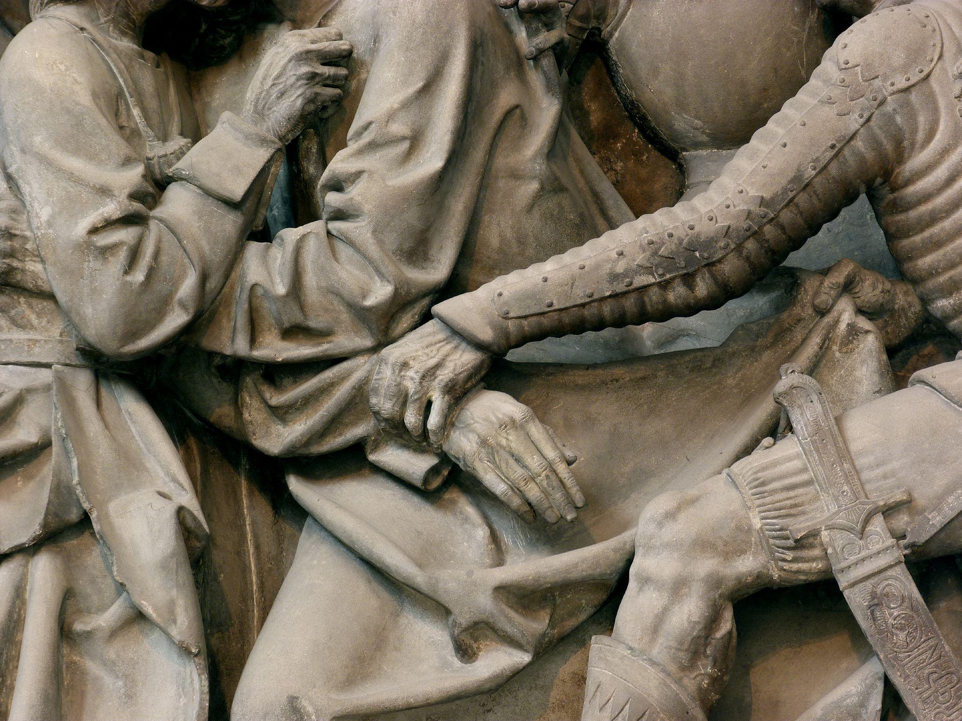 Volckamersche Gedächtsnisstiftung, Reliefplatten Gefangennahme, Detail: Hände