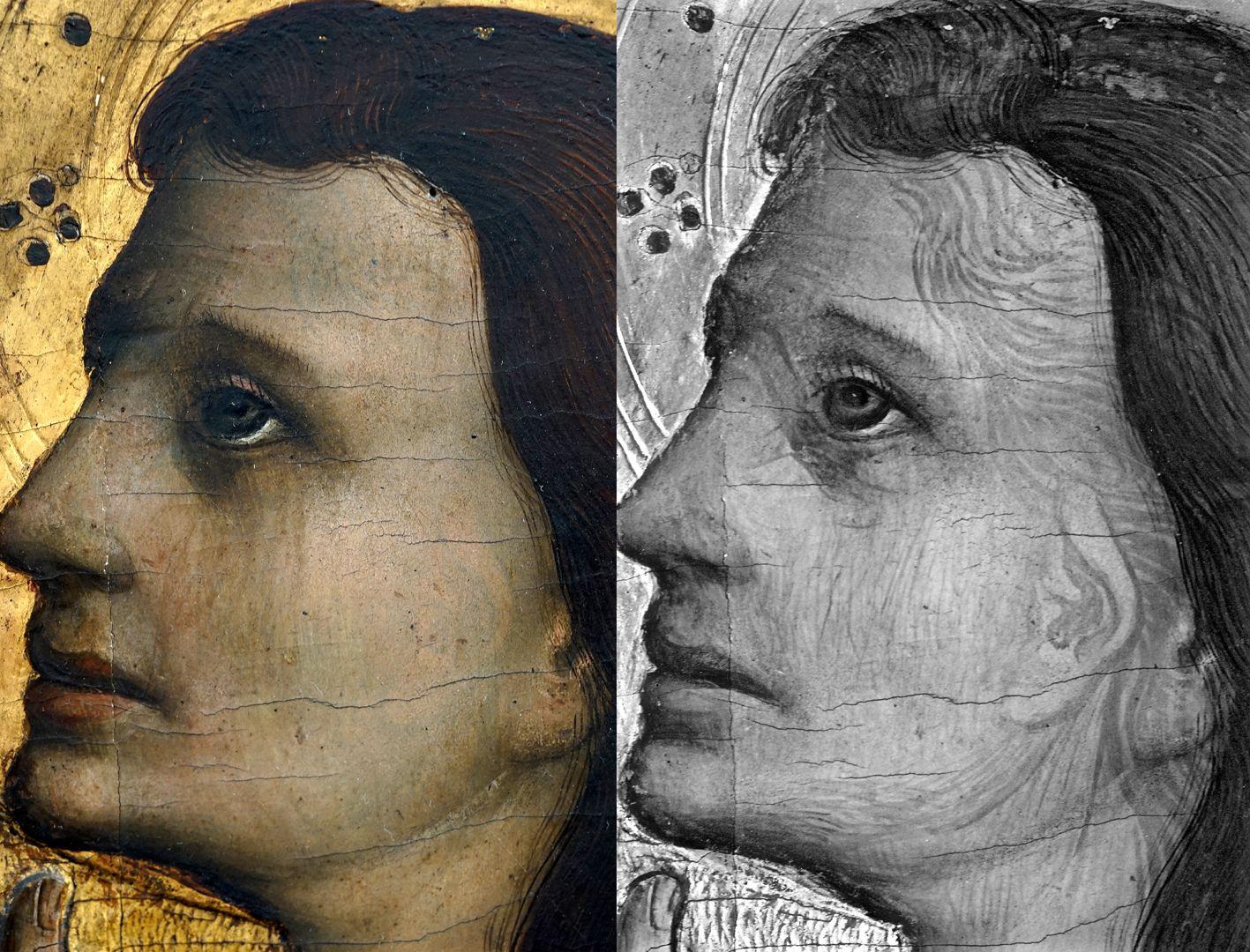 Tucheraltar Mitteltafel, Kopf des Johannes, durch Infrarotreflektographie ersichtliche Vorzeichnung