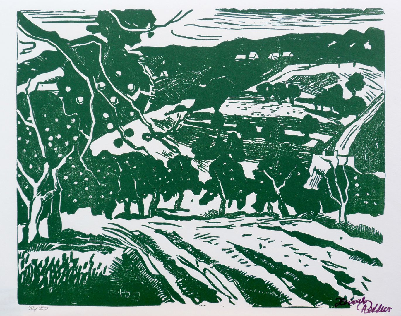Druckgrafik Felder mit Obstbäumen