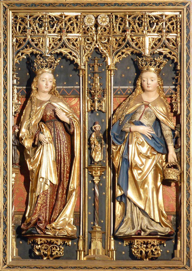 Zwickauer Hochaltarretabel rechter Flügel, Heilige ohne Attribut und Heilige Dorothea mit dem Rosenkörbchen