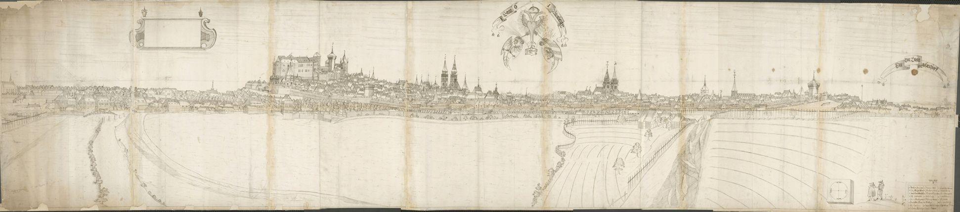 Panoramadarstellung der Stadt Nürnberg von Westen Gesamtzeichnung (aus mehreren Papierbögen bestehend)