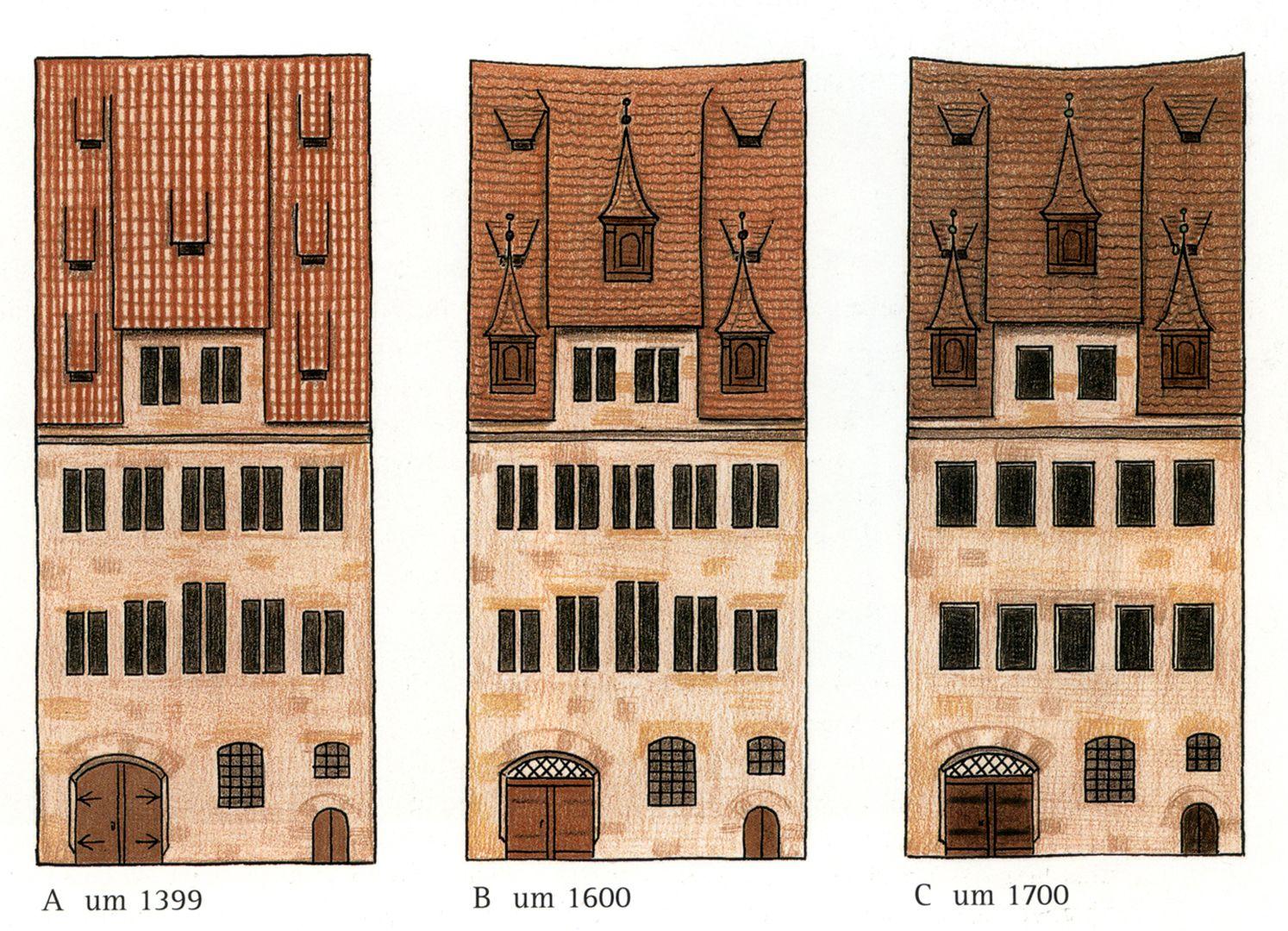 Haus Obere Krämersgasse 12 (Privatbesitz, nicht zu besichtigen) Zustand der Fassade im Laufe der Zeit