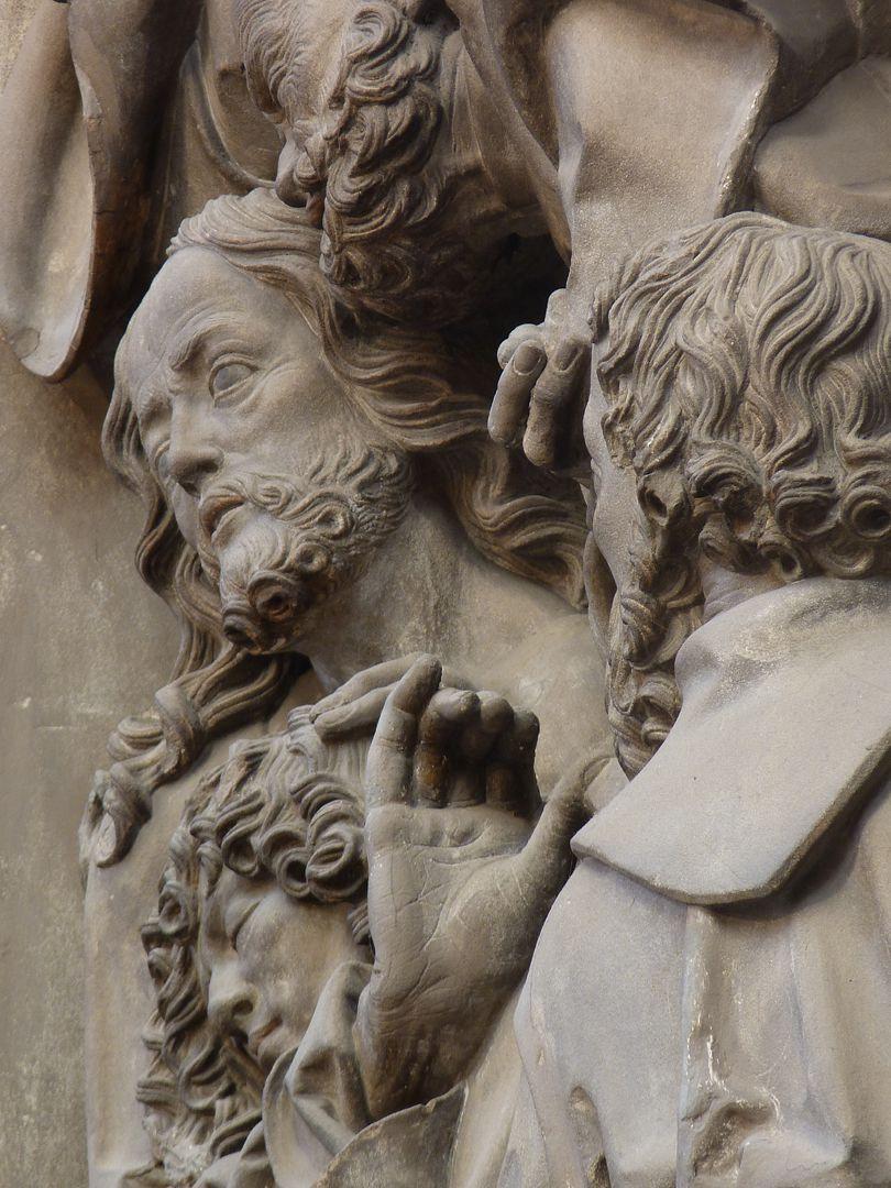 Volckamersche Gedächtsnisstiftung, Reliefplatten Letztes Abendmahl: Köpfe von Judas, Johannes, Jesus und Petrus