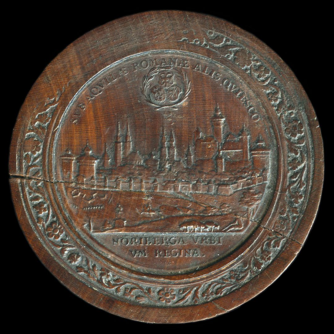 Spielstein mit Nürnberg Stadtansicht von Osten und Friedensallegorie