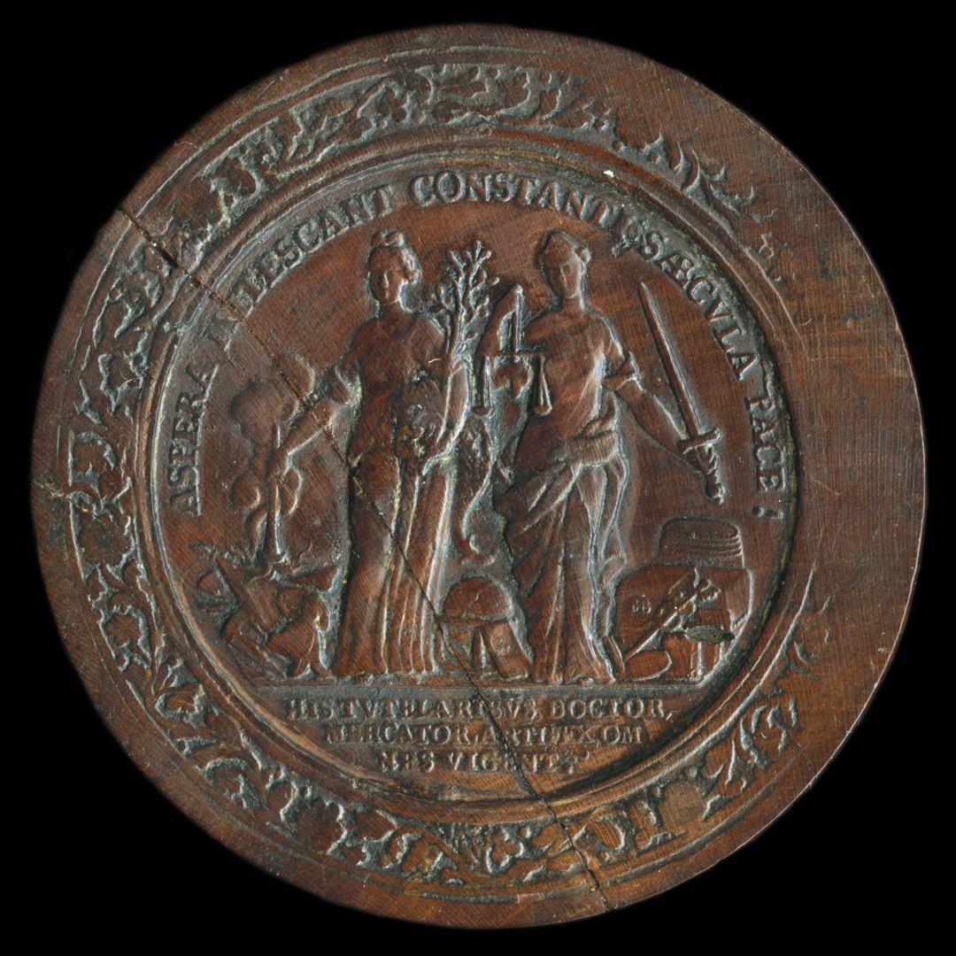 Spielstein mit Nürnberg Stadtansicht von Osten und Friedensallegorie Spielsteinseite mit Allegorie Pax und Justitia
