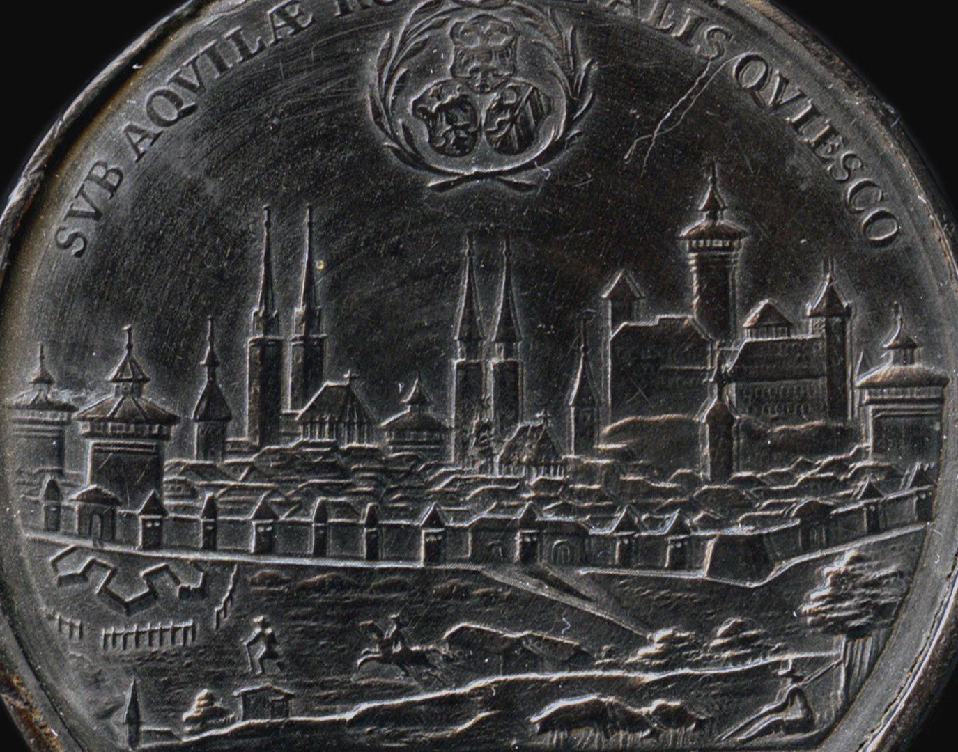 Spielstein mit Stadtansicht Nürnbergs von Osten und Friedensallegorie Spielsteinseite mit Stadtansicht von Nürnberg, Detail