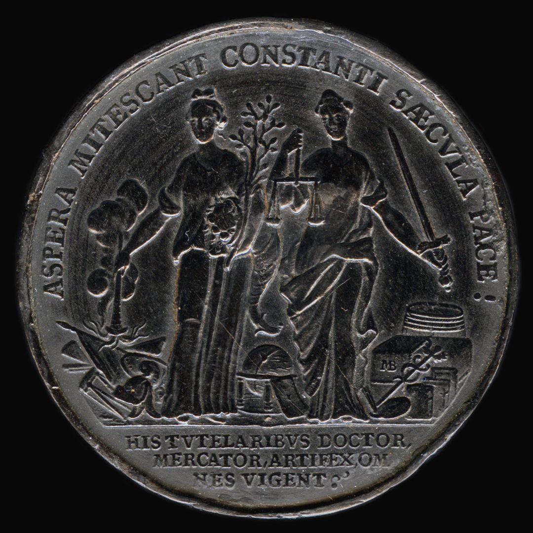 Spielstein mit Stadtansicht Nürnbergs von Osten und Friedensallegorie Spielsteinseite mit Allegorie Pax und Justicia