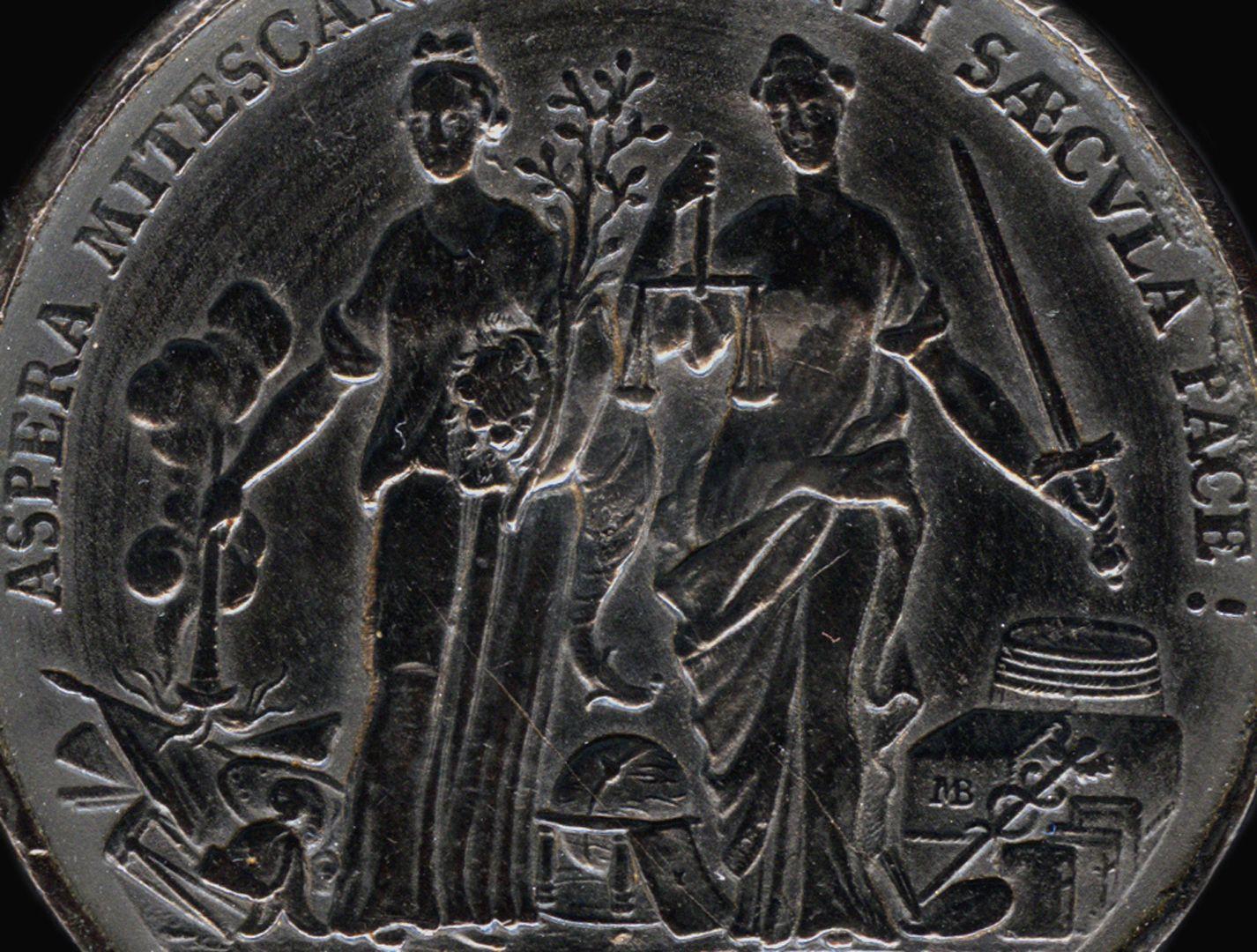 Spielstein mit Stadtansicht Nürnbergs von Osten und Friedensallegorie Spielsteinseite mit Allegorien von Pax und Justitia