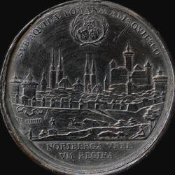 Spielstein mit Stadtansicht Nürnbergs von Osten und Friedensallegorie
