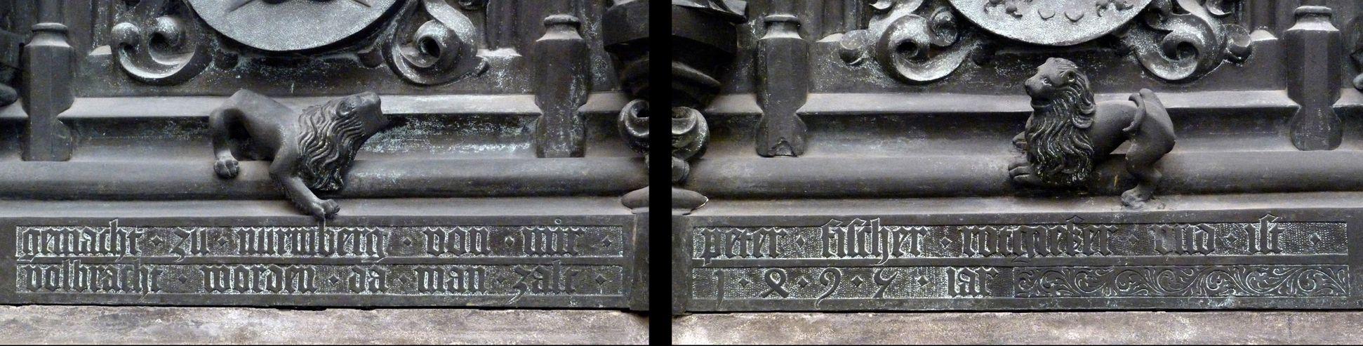 """Tumba des Erzbischofs Ernst von Sachsen Tumba, Ostfront - Zusammensetzung der Sockelinschrift: """"gemacht . zu . nurmberg . von . mir . peter . fischer . rotgießer . und . ist . vollbracht . worden . da . man . zalt (=zählt) . 1495 . iar (=Jahr)"""""""