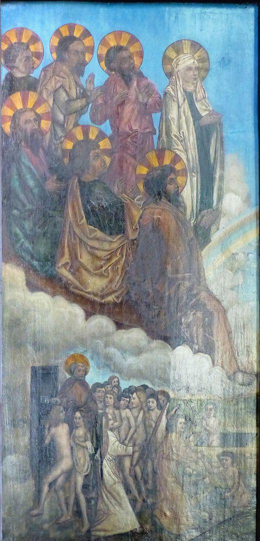 Zwickauer Hochaltarretabel Schrein , Rückseite, linke Tafel: Die Auserwählten