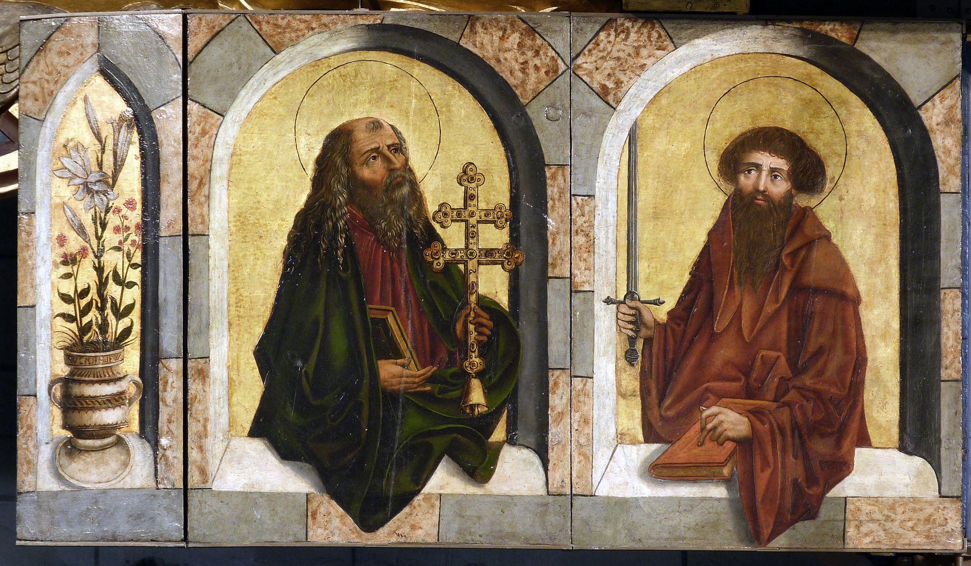 Zwickauer Hochaltarretabel Predella, aufgeklappter linker Flügel mit Antonius und Paulus