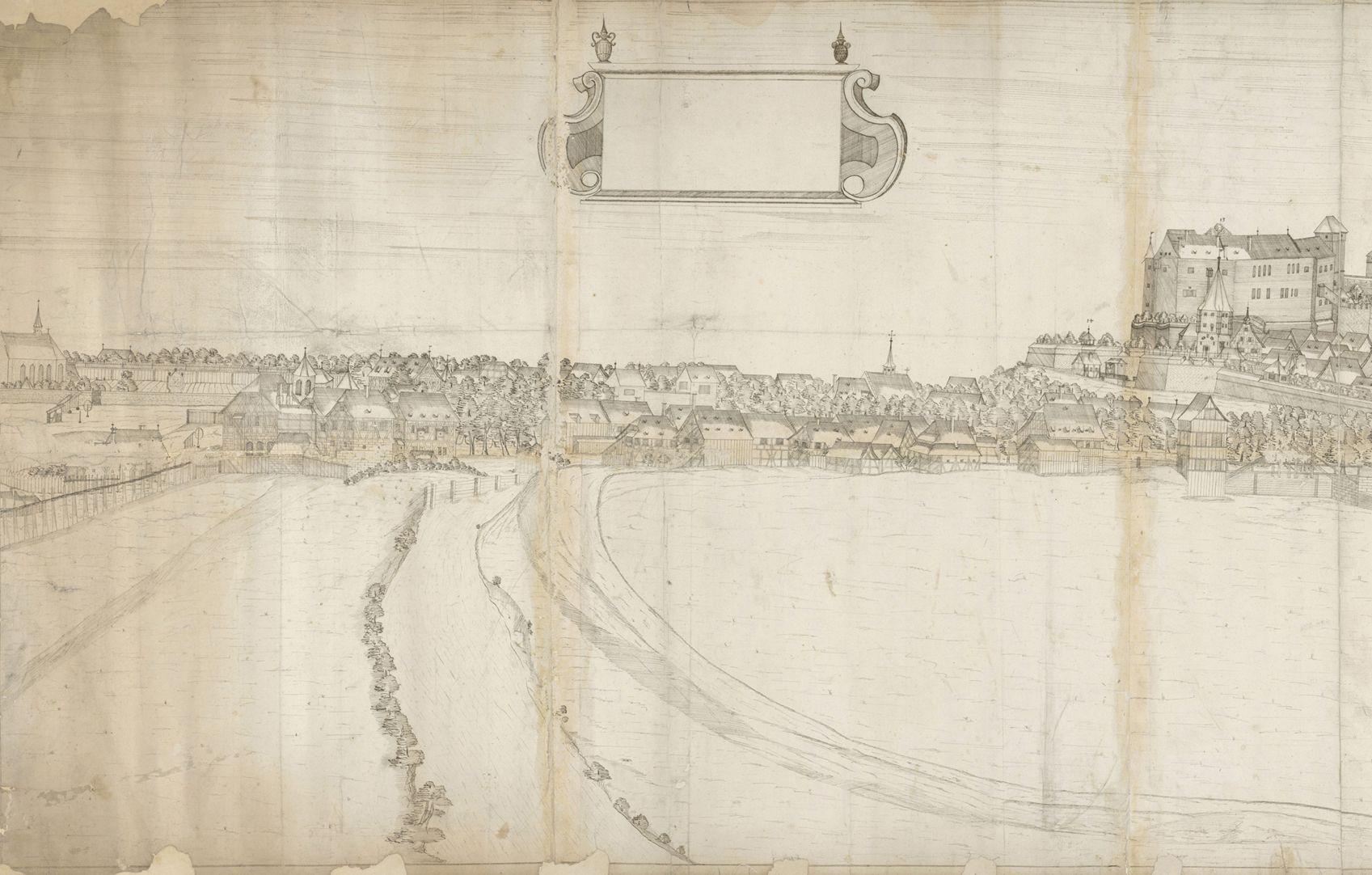 Panoramadarstellung der Stadt Nürnberg von Westen linkes Drittel (von Johannis bis zum Burgpalas)