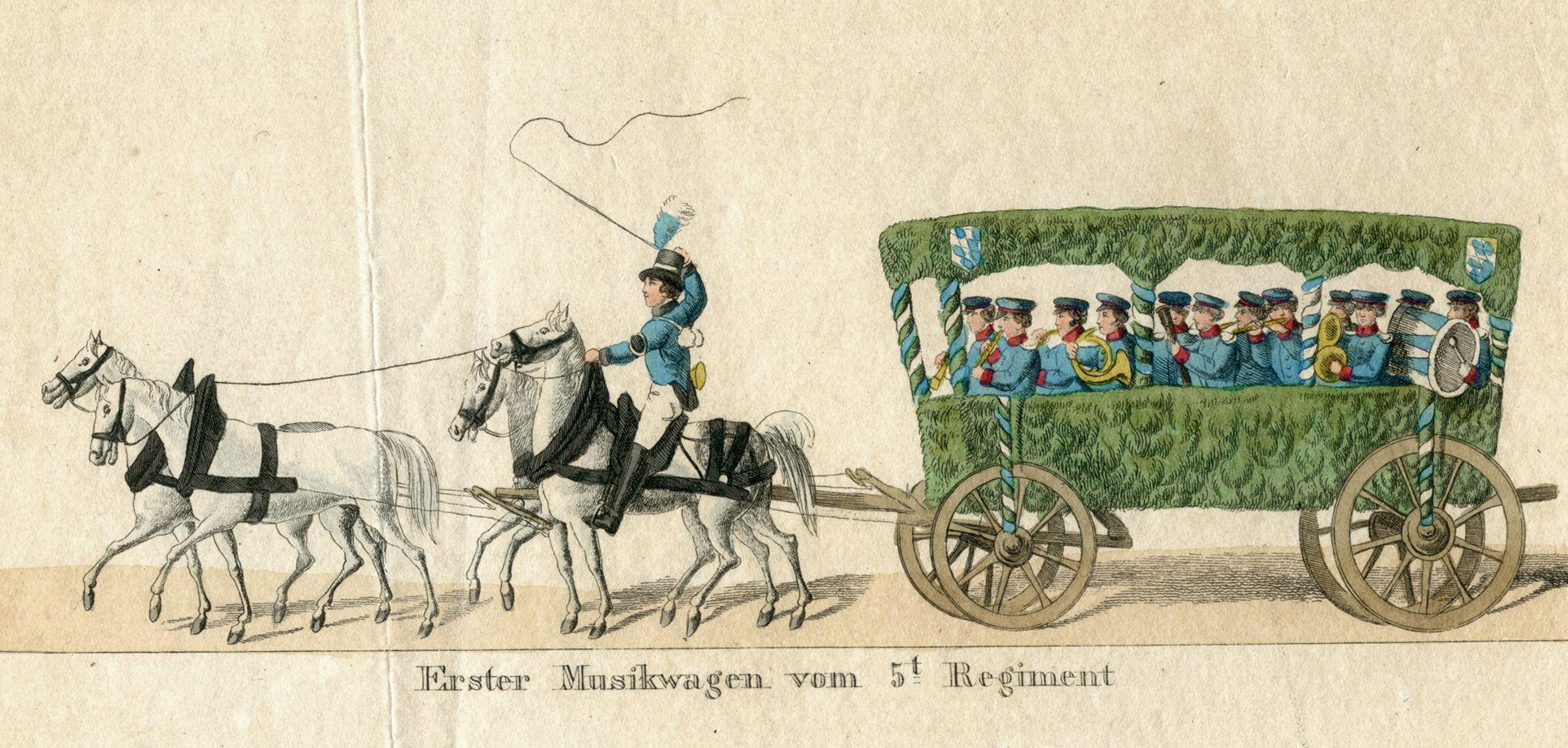 Das Volksfest in Nürnberg. II. Erste Zeile von oben, erster Musikwagen vom fünften Regiment