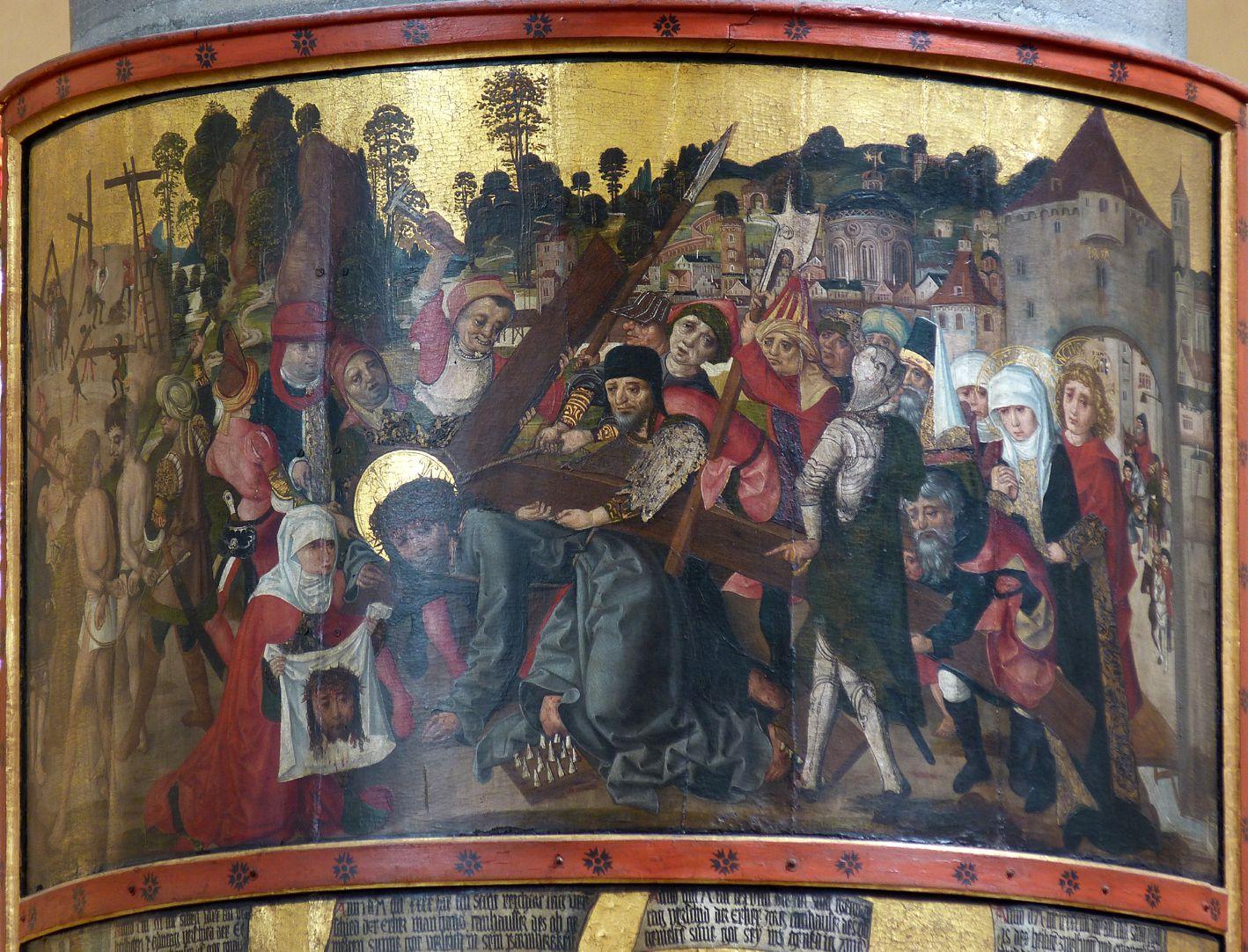 Thanhauser Epitaph oberes Bild mit Darstellung der Kreuztragung