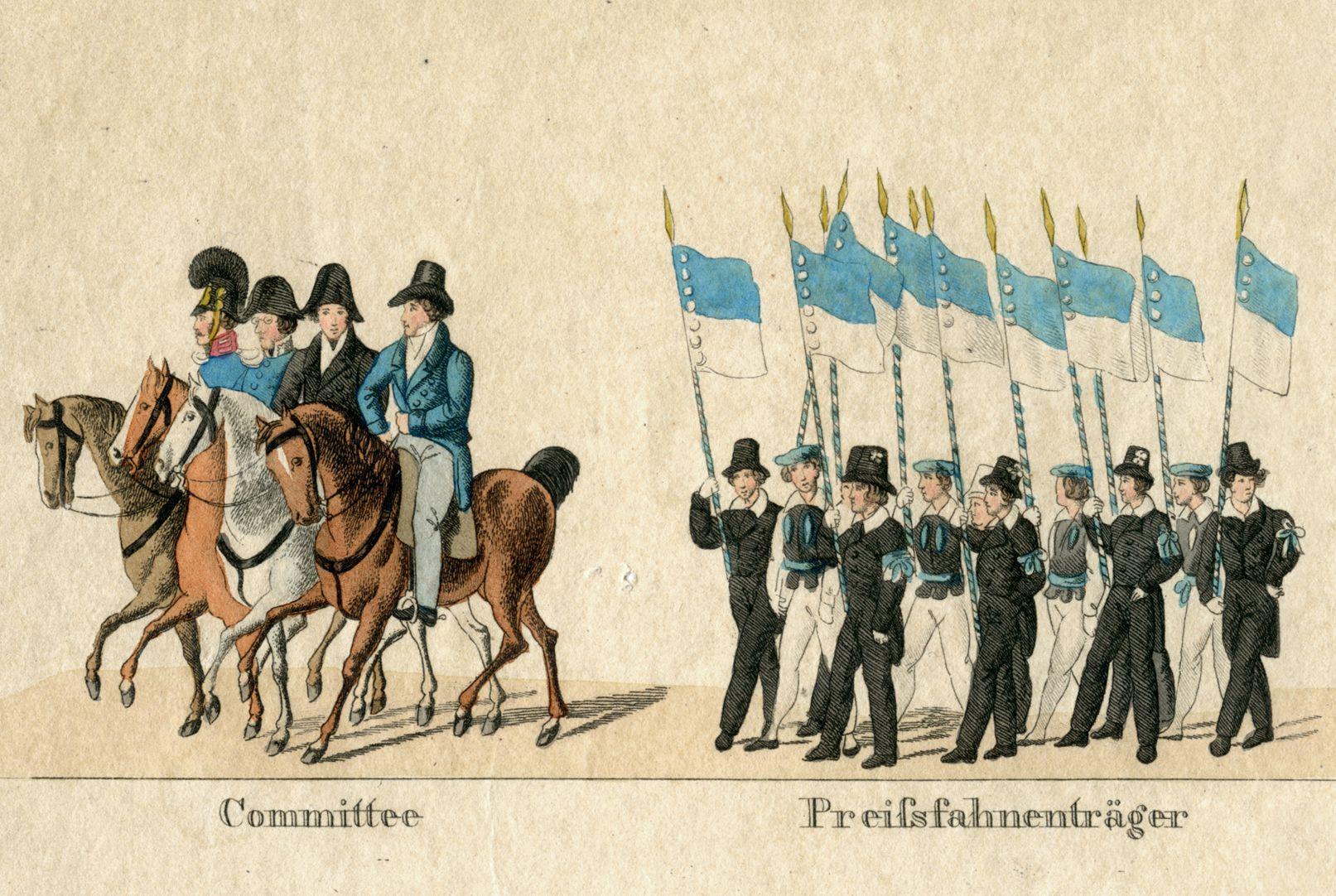 Das Volksfest in Nürnberg. II. erste Zeile von oben, Commitee  Preißfahnenträger