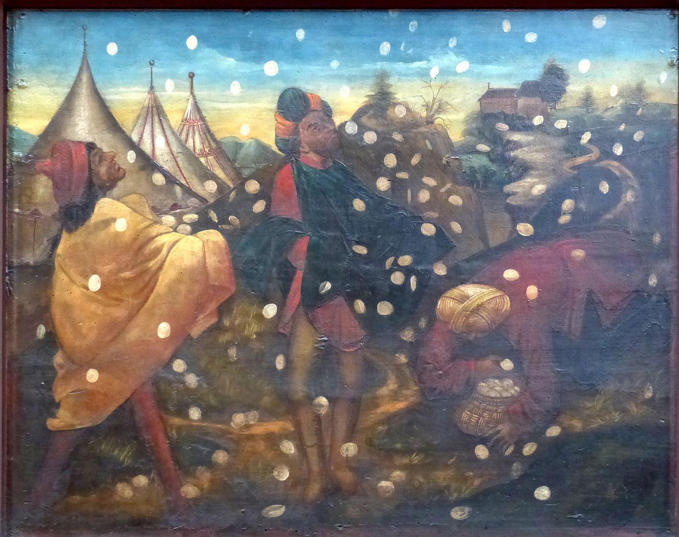 Zwickauer Hochaltarretabel Predella, Rückseite, linke Tafel: Mannaregen