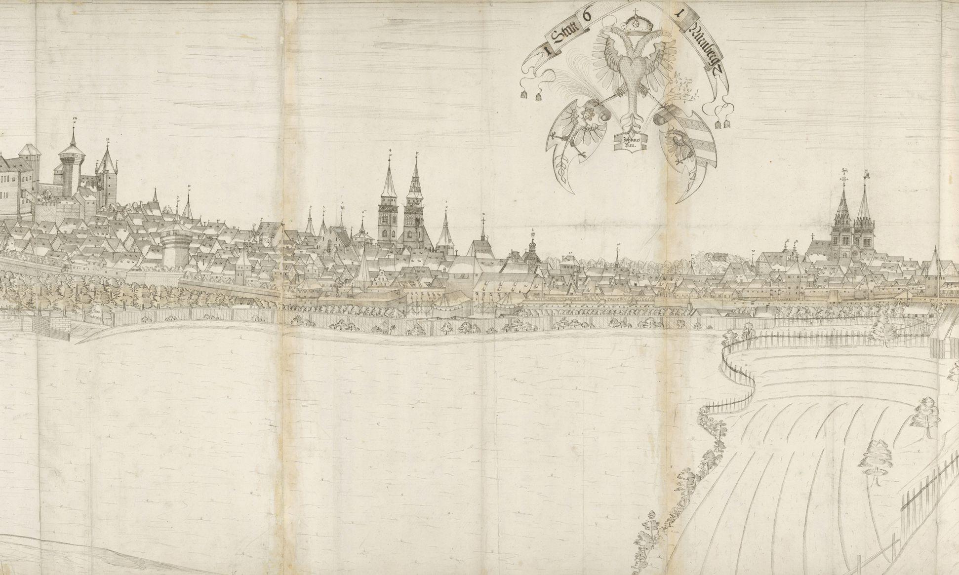 Panoramadarstellung der Stadt Nürnberg von Westen mittleres Drittel (vom Burgpalas bis zum Turm Rotes Z), mittig im Himmel platziert der Wappendreiverein
