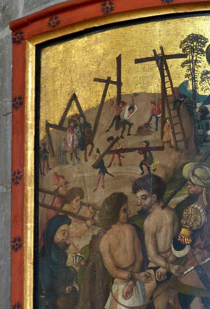Thanhauser Epitaph Detail der linken oberen Bildecke mit Aufrichtung der Kreuze und den beiden Schächern