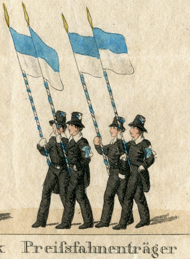 Das Volksfest in Nürnberg. II. zweite Zeile von oben, Preißfahnenträge