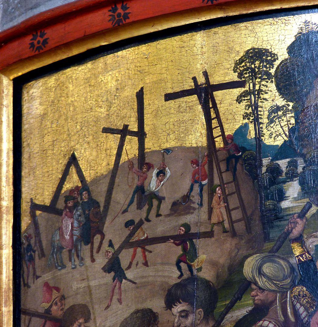 Thanhauser Epitaph Detail der linken oberen Bildecke mit Aufrichtung der Kreuze
