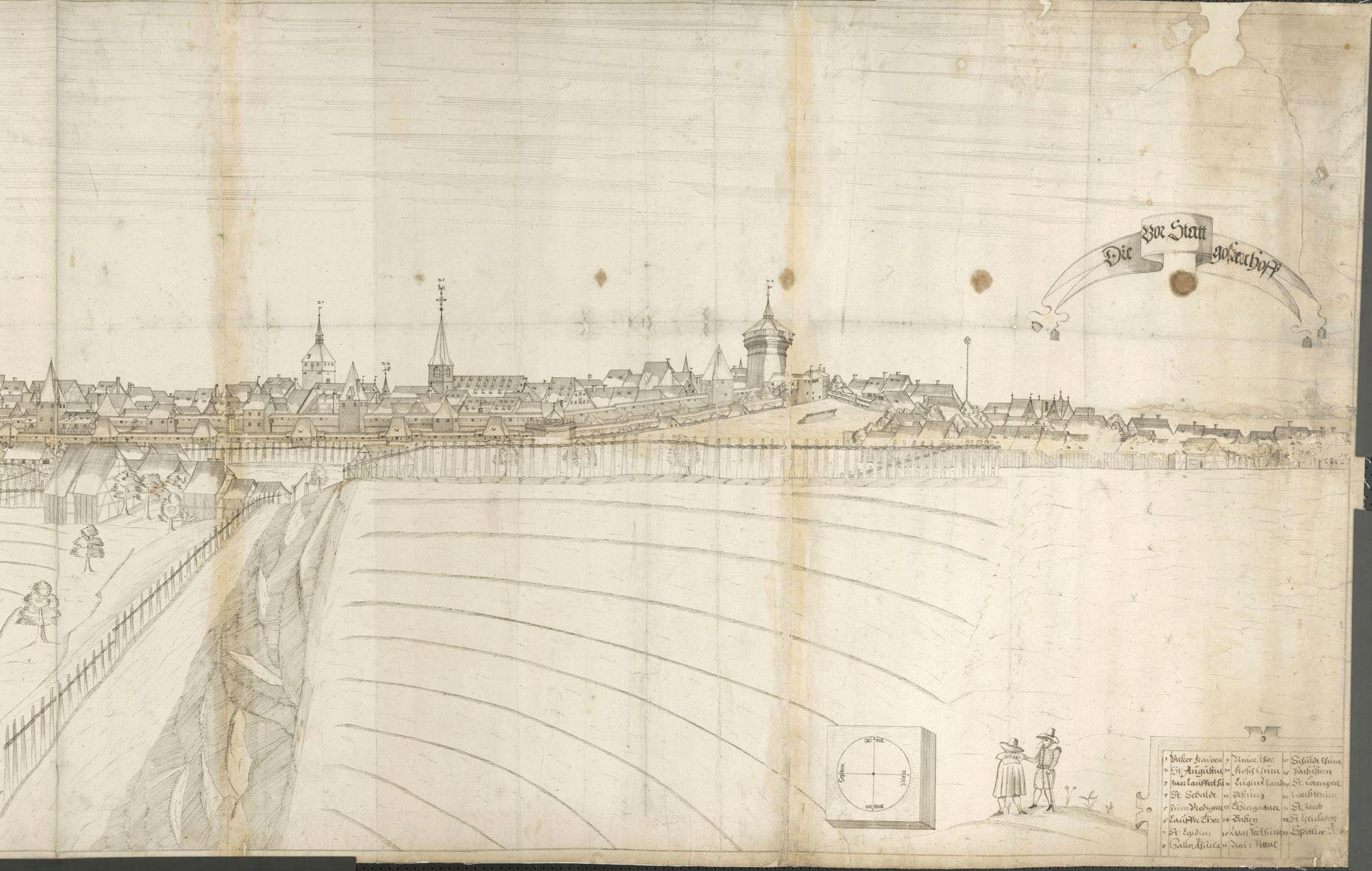 Panoramadarstellung der Stadt Nürnberg von Westen rechtes Drittel (vom Turm Roten Z bis Gostenhof)