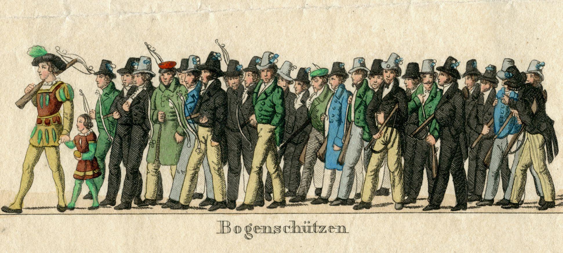 Das Volksfest in Nürnberg. II. dritte Zeile von oben, Bogenschützen