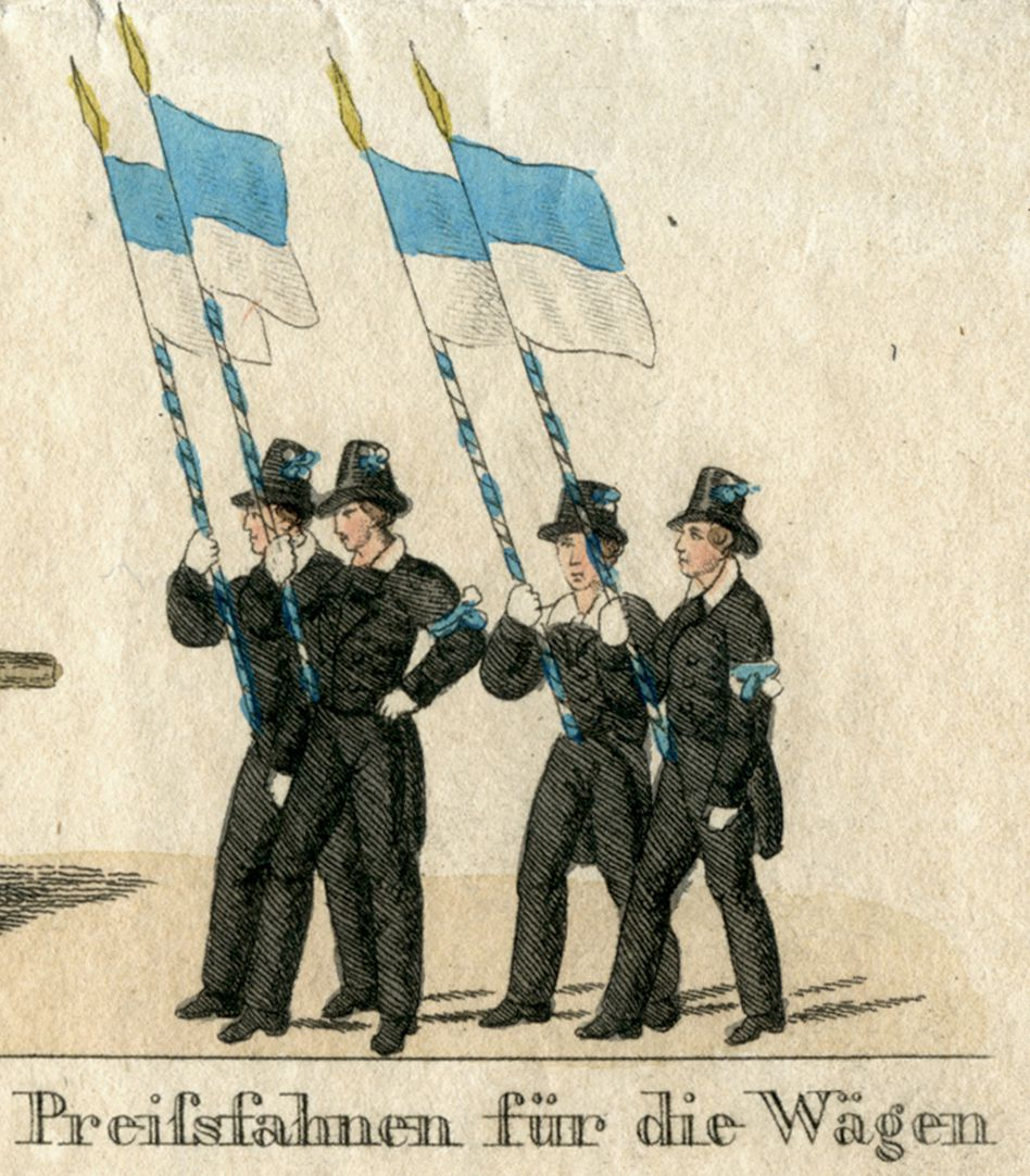 Das Volksfest in Nürnberg. II. dritte Zeile von oben, Preißfahnen für die Wägen