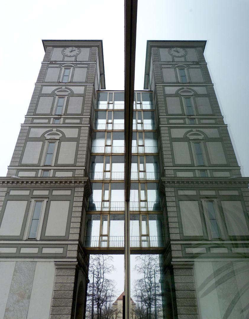 Herzog-Max-Burg, München, Justizgebäude Renaissanceturm mit Verbindung zum Neubau