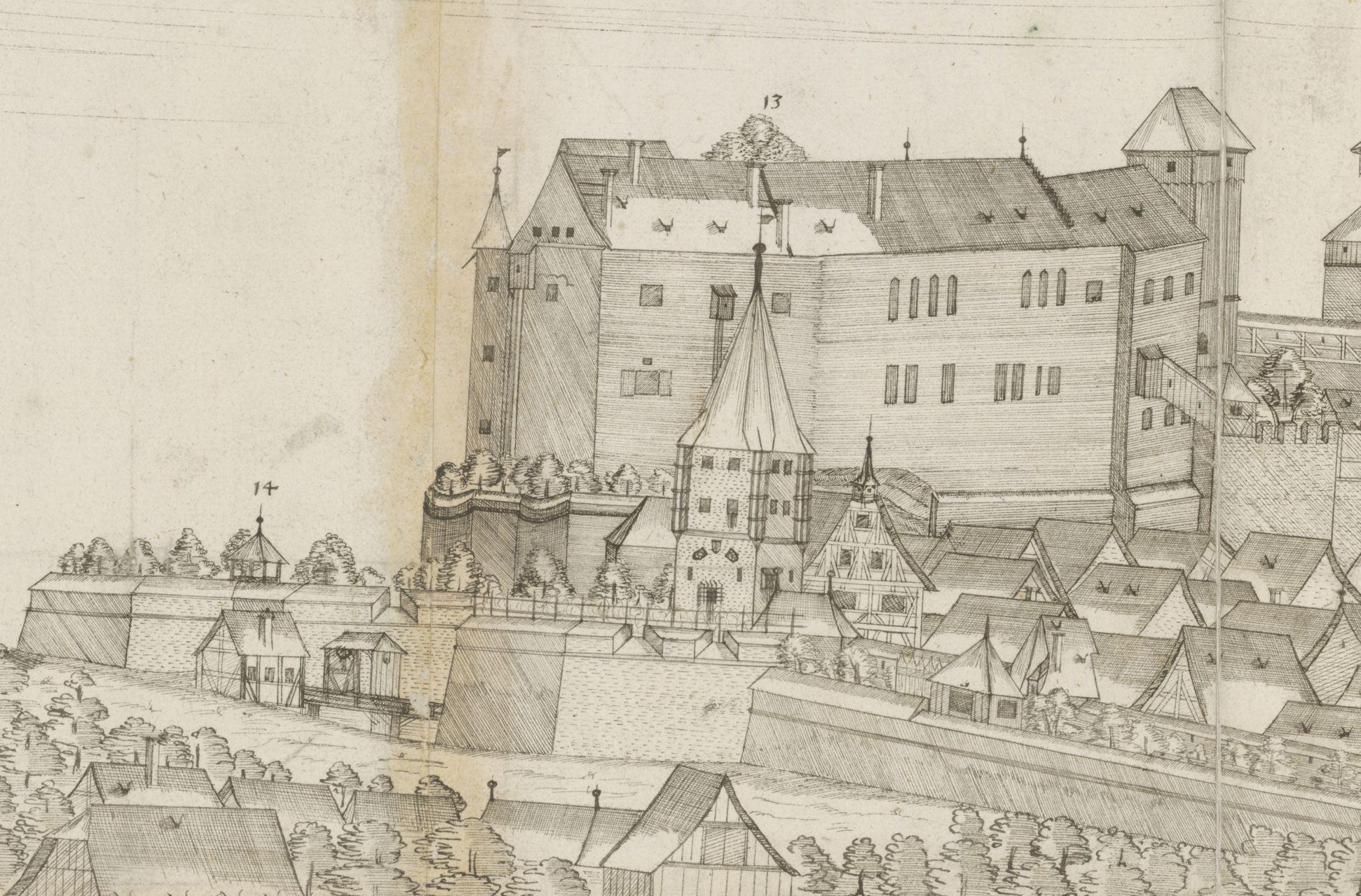 Panoramadarstellung der Stadt Nürnberg von Westen Westpanorama, Detail mit Neutorgraben, Tiergärtnertorturm, Burgpalas, -kapelle mit Heidenturm