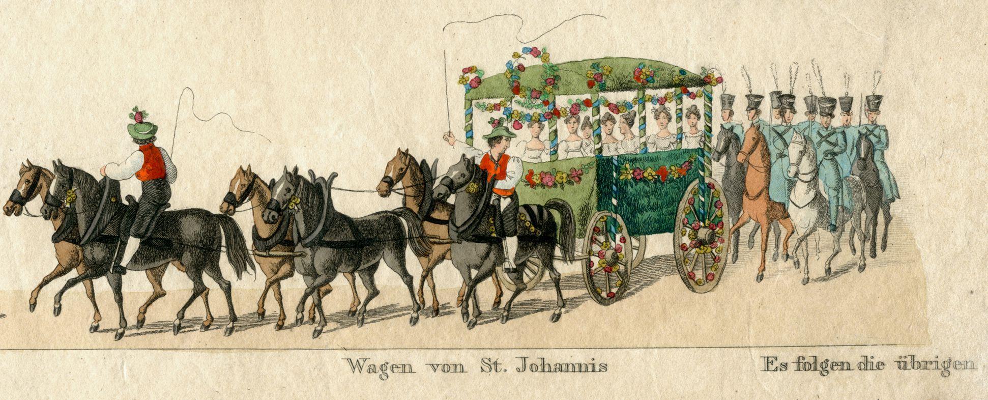 Das Volksfest in Nürnberg. II. vierte Zeile von oben, Wagen von St. Johannis