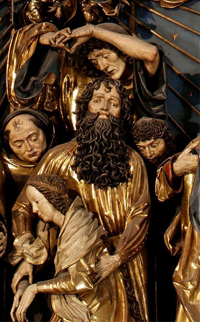 Marienaltar Schreindetail mit einem Maria stützenden Apostel (Andreas?)